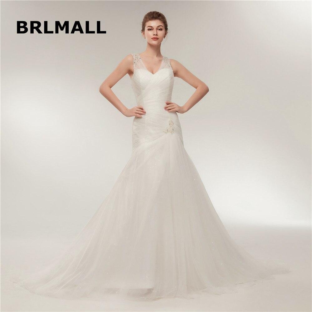 Tulle Overskirt Wedding Dresses Mermaid Bateau Neck Simple: 2018 Simple Wedding Dresses Sexy Mermaid Lace Up V Neck