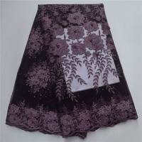 New Arrival Nigerian Lace Fabric Dubai Embroidered French Tulle Lace Latest African Lace Fabric With Beads