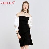 YIGELILA 2018 Spring Latest Women Off Shoulder Dress Fashion Slash Neck Lantern Sleeve Black White Patchwork