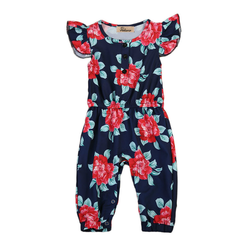 0-5Y Infant Baby Girls Toddler Cotton Floral Sleeveless Buttons Long Romper Kids Summer Playsuit Jumpsuit Outfit Clothes Tops цена и фото