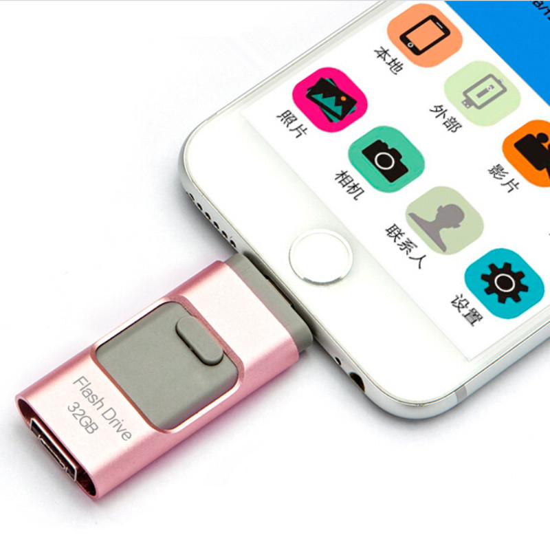 32GB 3 in 1 OTG Flash Drive Memory Stick For iPhone X 8 7 6 Plus 5s Android PC