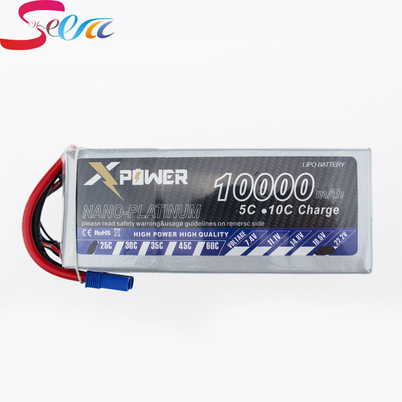 2pcs lipo 22.2V 6s Battery 10000mah 25C XT60 T EC5 XT90 plug X power for rc drone Helicopter airplanes Quadcopter boat parts