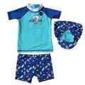 Baby Little Boys Rashguard Swim Set 3pc Swimwear Swimsuit Penguin
