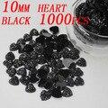 1000 pcs 10mm preto pêssego coração Resina flatback strass Frete grátis