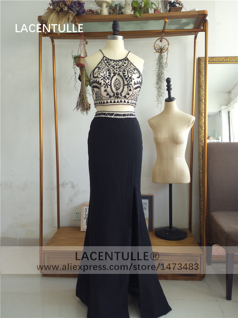 Two Pieces Black Prom Dress with Beaded Crop Top Solit Skirt (1)