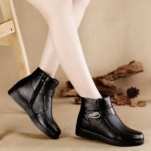 Image 4 - Женские ботинки из натуральной кожи OUKAHUI, черные теплые ботинки на низком каблуке, с кристаллами, из 100% натуральной шерсти, весна зима 2019