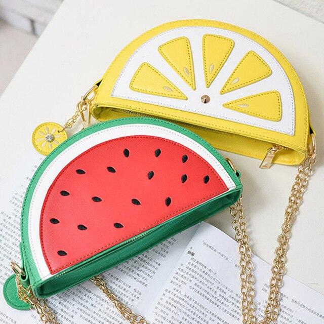 2019 été nouvelle femme sac en cuir PU sac pour femme mignon fruits paquet épaule de la chaîne sac de messager orange pastèque Fraise sac