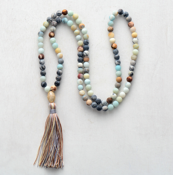 Exclusive 8MM Matte Natural Stones With Micro Paved Cubic Zirconia Tassel Necklace Handmade Classic Beaded Women Necklace