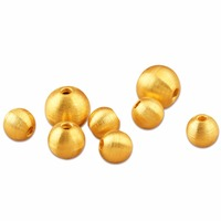Pure 999 24K Yellow Gold Lucky 8mm Brushed Bead Pendant 1pcs