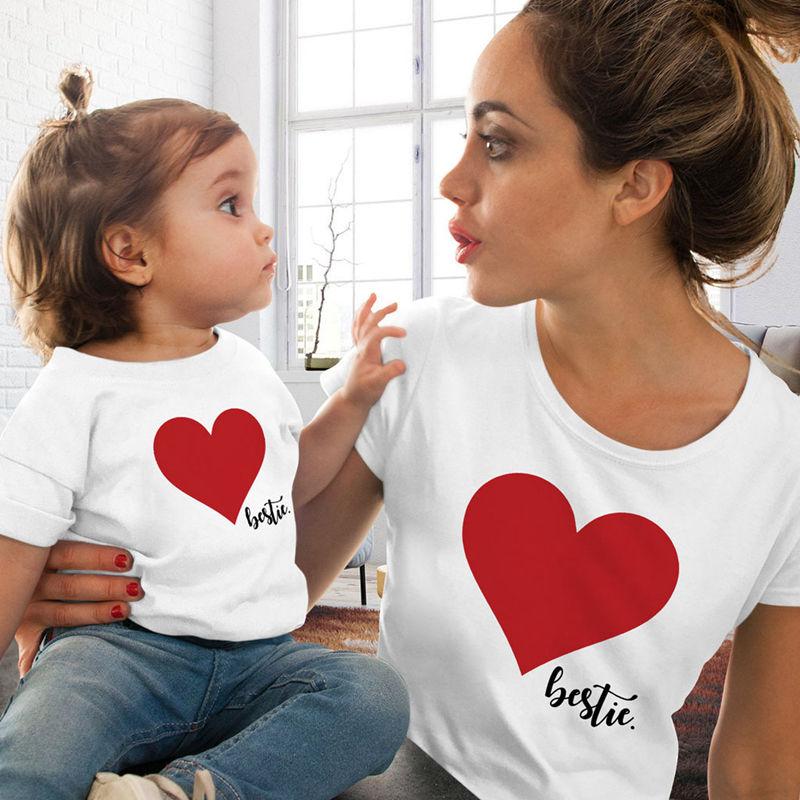 CALOFE/Одежда для мамы и дочки; футболка; Семейные комплекты; летняя футболка с принтом «любовь»; одежда для мамы и дочки; семейный образ - Цвет: White