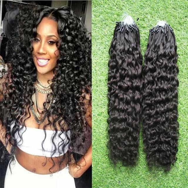 Micro Loop Hair Extensions Indian Remy Virgin Hai Kinky Curly 100g