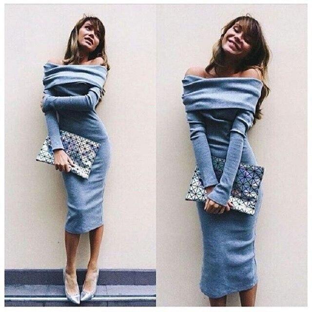 3776256ceca Nouveau Mode Femmes Robes À Manches Longues Slash Cou Tube Top Sexy Robes  Plissée Mince Paquet