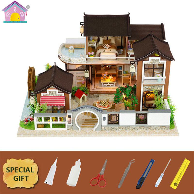 DIY Wooden Dollhouse Dream In Ancient Town Houses Sandbox Model House Toys For Children Christmas Gift Furniture Decor 13848Z no frame canvas