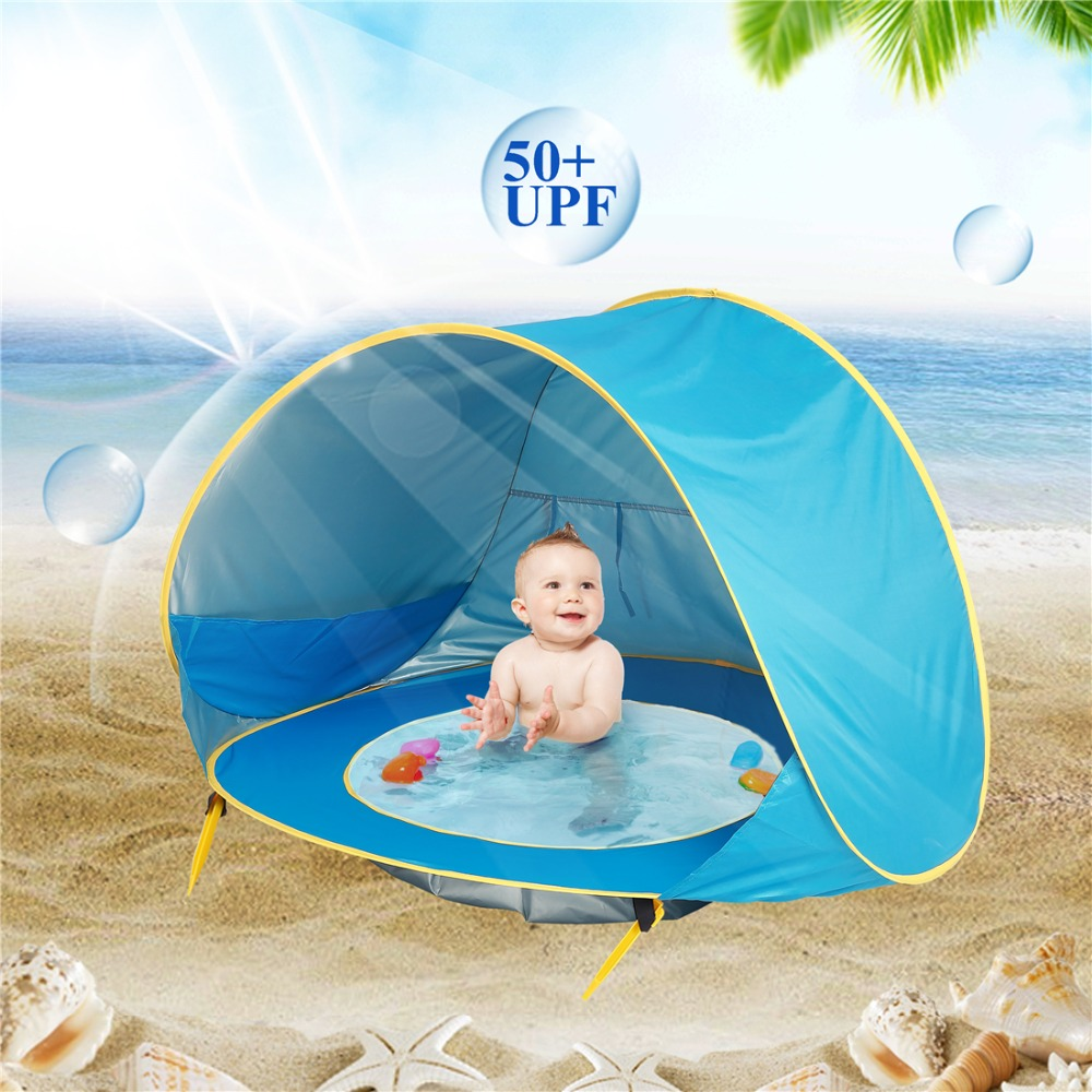Baby Beach Tent Uv-protecting Sunshelter With A Pool Baby Kids Beach Tent Pop Up Portable Shade Pool UV Protection Sun Shelter 1