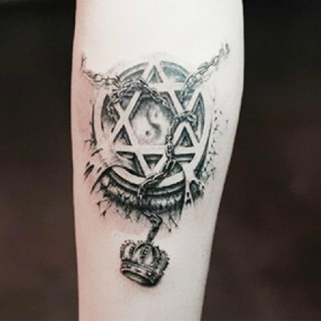 Us 12 9 Off2 Sztuk Nowa Moda Kotwice łodzi Fałszywe Tatuaże Produkty Kostki Ramię Metalowe Tymczasowe Dla Fajnych Mężczyzn Kobiet Tatuaż Tatuaż