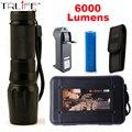 LED масштабируемые Фонарик 6000 люмен CREE XM-L2 led факел для 18650/26650/AAA черный алюминиевый led фонари для охота Отдых На Природе