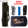 LED Flashlight 6000lumen CREE XM-L2  zoomable led torch for 18650/26650/AAA black aluminum led flashlights for hunting Camping