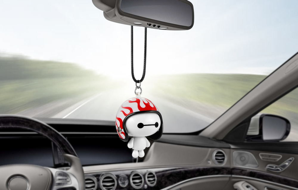 HTB1RrEma29TBuNjy0Fcq6zeiFXa9 Car Pendant Cute Helmet Baymax Robot Doll Hanging Ornaments Automobiles Rearview Mirror Suspension Decoration Accessories Gifts