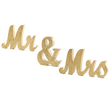Gold Wooden Mr & Mrs Table Centrepiece