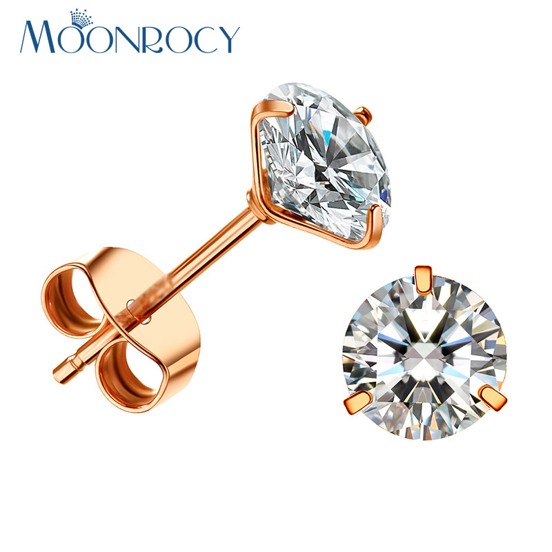 MOONROCY Free shipping Fashion Cubic Zirconia Rose Gold Color Fashion Crystal Earring Stud Jewelry Wholesale for Women
