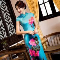 Hot Sale Traditional Chinese Ladies Satin Cheongsam Long Qipao Dress Summer Style Vestidos Size S M