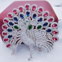 Big Peacock Trâm Cài Cho Phụ Nữ Bó Hoa Cưới Clip Scarf Buckle Hijab Pins Đa-Đá màu Trâm Sang Trọng Phụ Kiện Đám Cưới