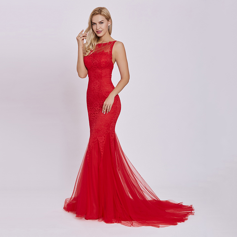 Tanpell sweep train evening dress red scoop sleeveless appliques floor  length gown women backless lace mermaid evening dresses. 1 4 ... 1c8ccddb5036