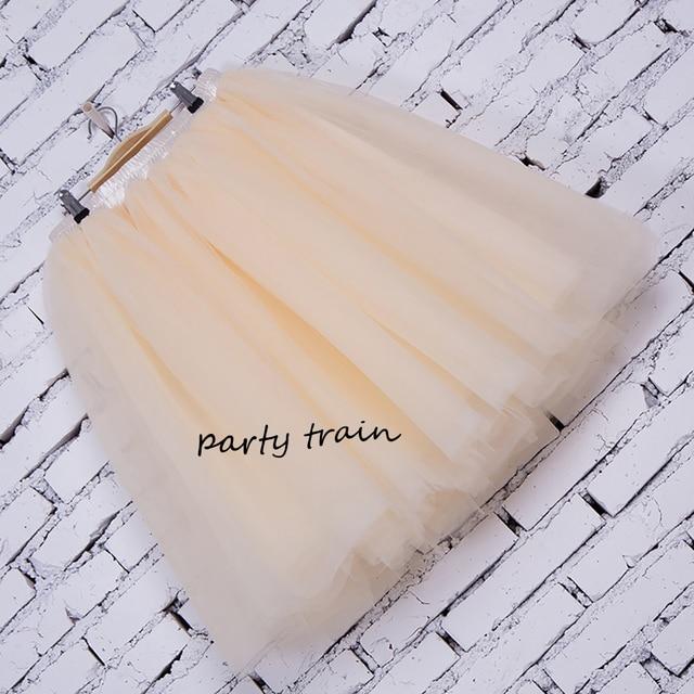 2018 Fashion 7 Layers Knee Lengt Adult Tutu Tulle Skirt Bridesmaids Long Womens American Apparel Gown Saias Femininas Jupe