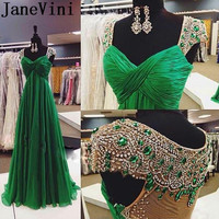JaneVini Emerald Green Prom Dress 2019 Arabic Long Crystal Beaded Red Carpet Evening Dresses Party Women Elegant Chiffon Gowns