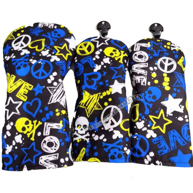 Cooyute ใหม่ Unisex Golf headcover คุณภาพสูง PU Skull กอล์ฟฝาครอบหัวไม้ 1 3.5 Multicolor คลับหัว