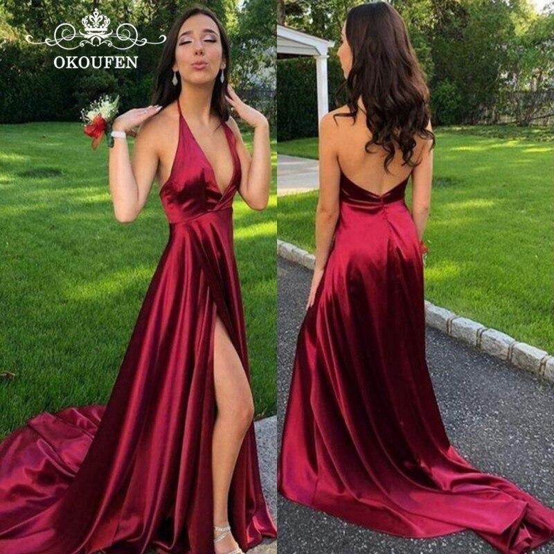 Bordeaux extensible Satin longues robes de bal pour les femmes 2019 Sexy dos nu côté fendu licou une ligne soirée robe formelle robe