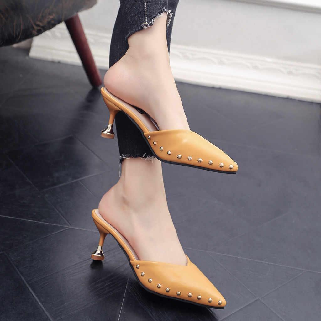 SAGACE Schuhe Spitz damen Sandalen Mode Stiletto Hausschuhe Einzelnen Schuhe Damen Niet Mode neue schuhe frau 2018dec7