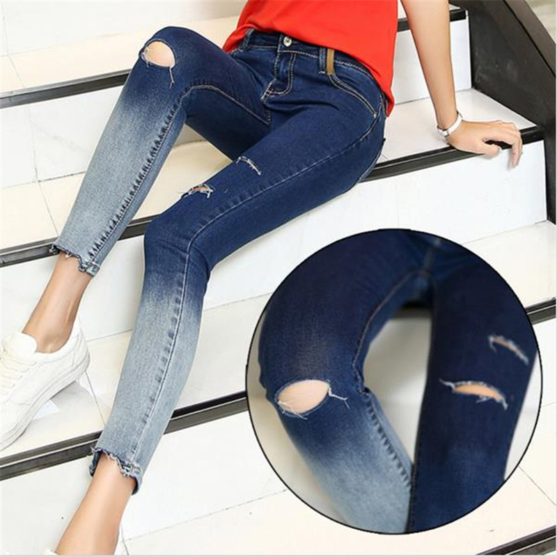 New Arrival Gradient Color Pencil Jeans With Hole Women Fashion Knee Ripped Ankle-Length Skinny Denim Pants Capris stylish gradient color broken hole skinny jeans for women