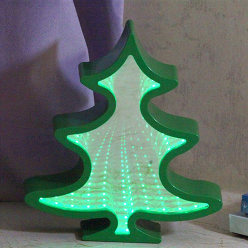 Christmas Tree Shape LED HD Mirror Table Lamp Decoration Wall Light Neon Light Night Light for Party Home Table Shelf ropio love letters shape led night lights table lamp wall hanging neon light for festival wedding party decoration lighting