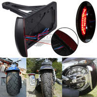 Brand New Black Side Mount License Plate Bracket Frame With Led Taillight Brake Light For Harleys