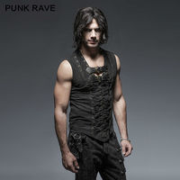 PUNK RAVE Mens Vest Black Steampunk Street T shirt Summer Casual Fashion Gothic Sleeveless Hip Hop Tops Shirt Streetwear Shirt