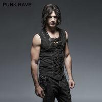 PUNK RAVE Mens Vest Black Steampunk Street T shirt Summer Casual Fashion Gothic Sleeveless Hip Hop Tops Shirt Streetwear Shirt