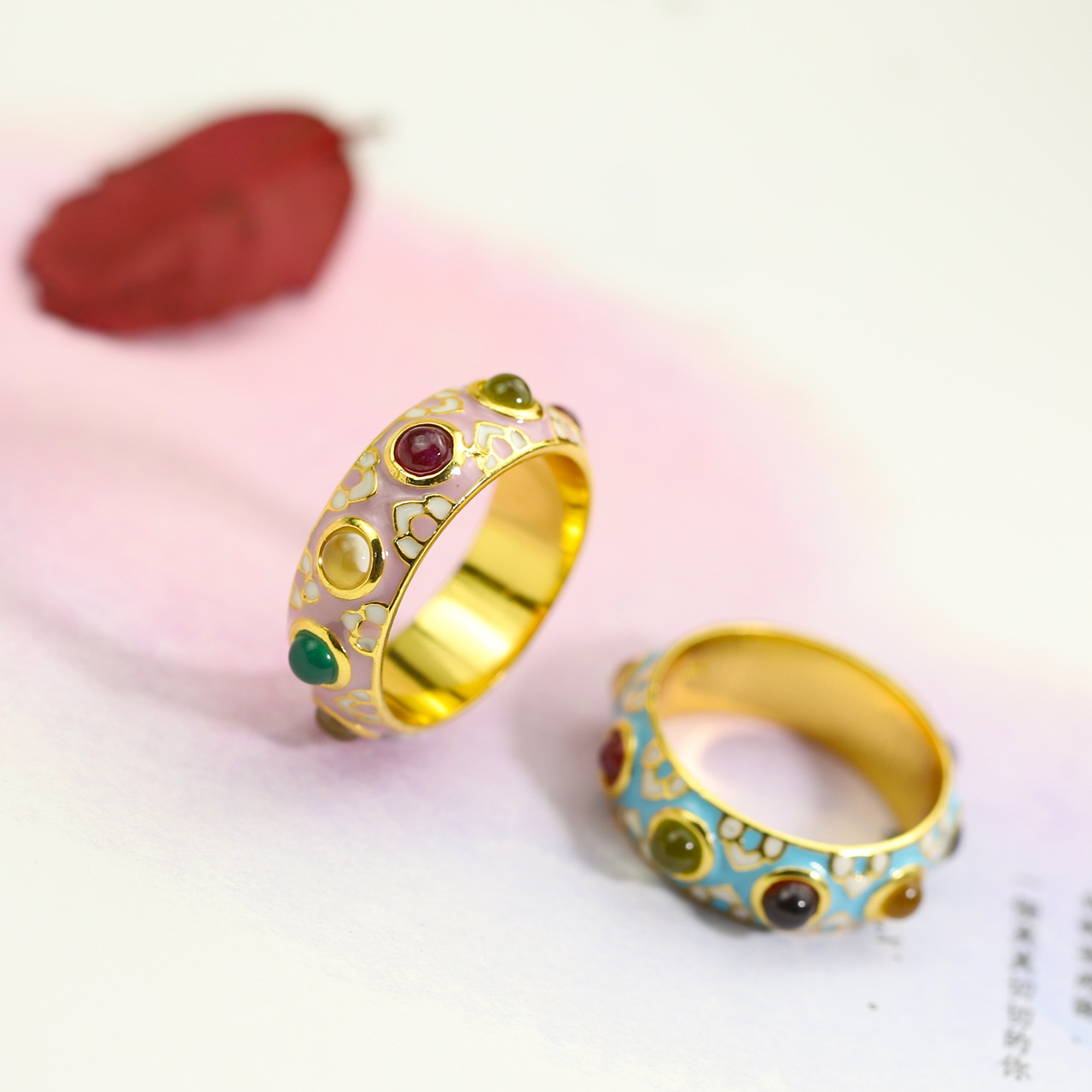 S925 sterling silver jewelry hand wholesale wholesale Thailand enamel color craft colorful gem ring national wind wholesale