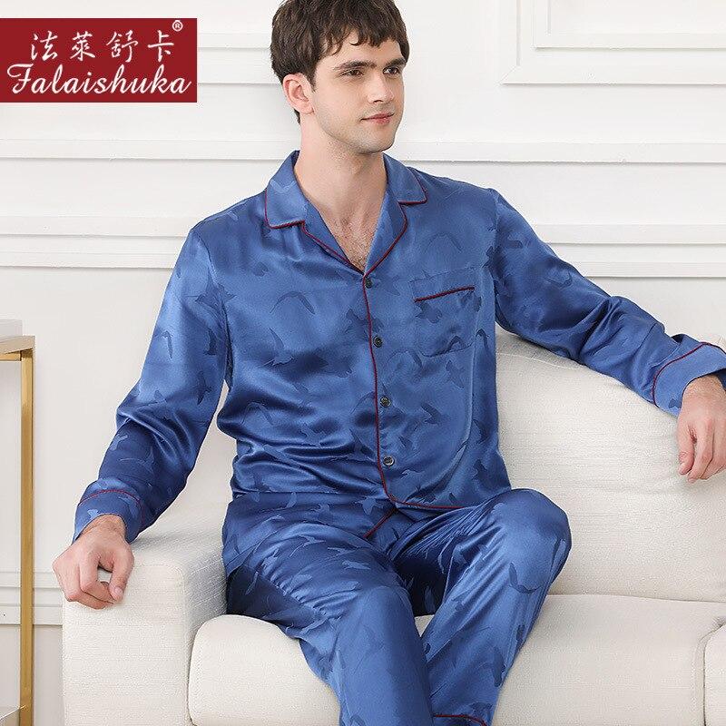 Fashion Printing 100% Mulberry Silk Pajamas Sets Men Sleepwear 19 Momme Genuine Silk Noble Male Elegant Pyjamas Sets Men T9054