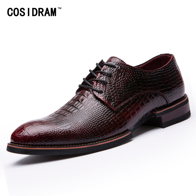 COSIDRAM Luxury Men Dress Shoes Pointed Toe PU Leather Oxfords Formal Shoes For Business Wedding Shoes Male 2018 Spring RME-355
