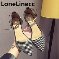 Brand shoes woman women high heels shoes women Low heeled Pointed Toe dress wedding shoes women Large size 41 Plaid ladies shoes