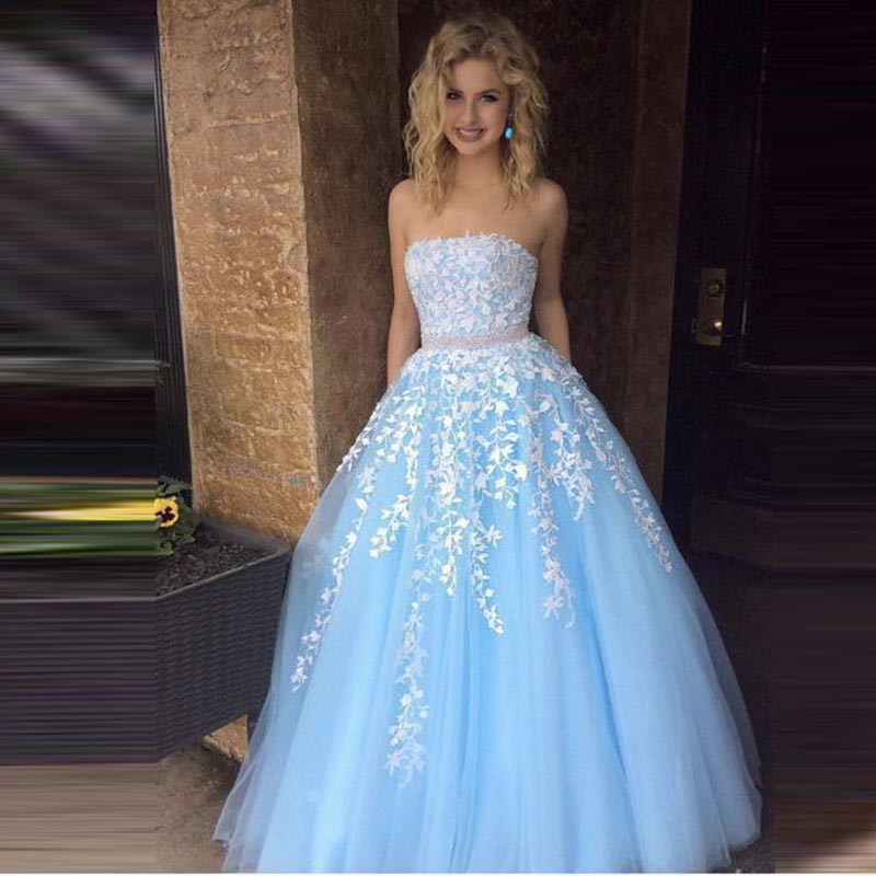 Strapless Elegant Evening Dresses Long Tulle with Appliques Party Gowns Evening Gowns Robe De Soiree Sleeveless