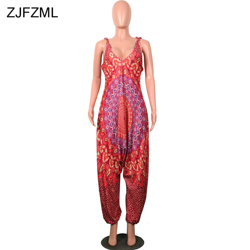 ZJFZML Printed Dashiki African Jumpsuits For Women Deep V Neck Sleeveless Party Romper Casual Backless Baggy Pant Summer Overall
