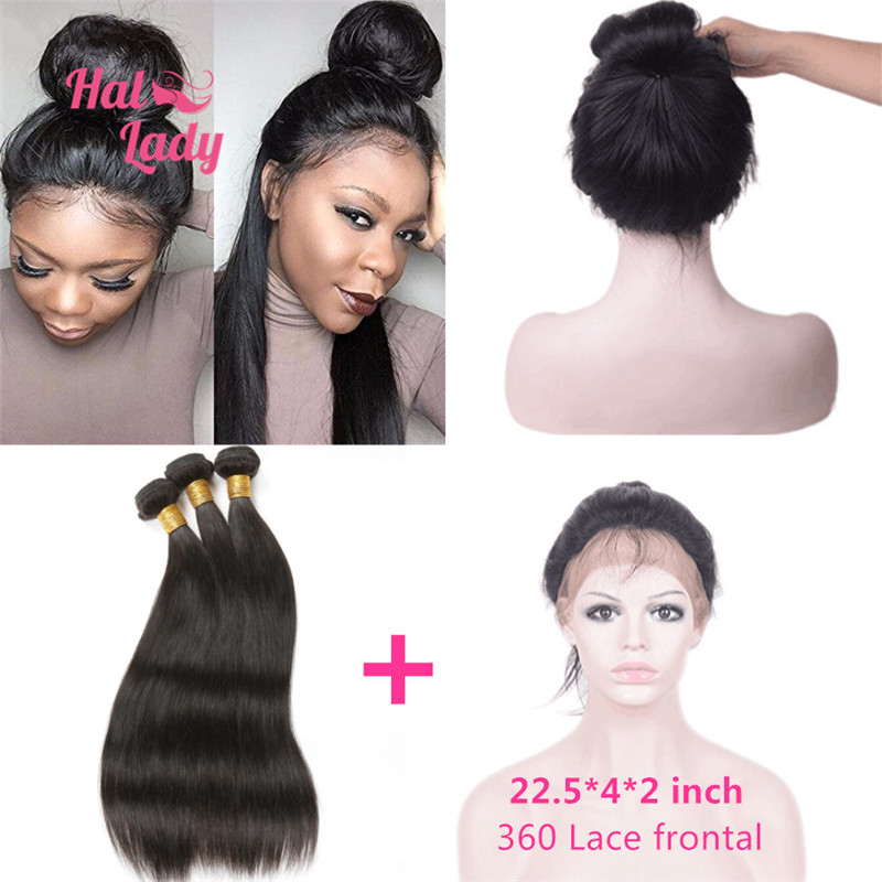 8A Pre Plucked 360 Lace Frontal With Hair Bundles 3pcs Brazilian Straight Halo Lady Hair 4pcs/Lot 360 Lace Frontal With Bundles
