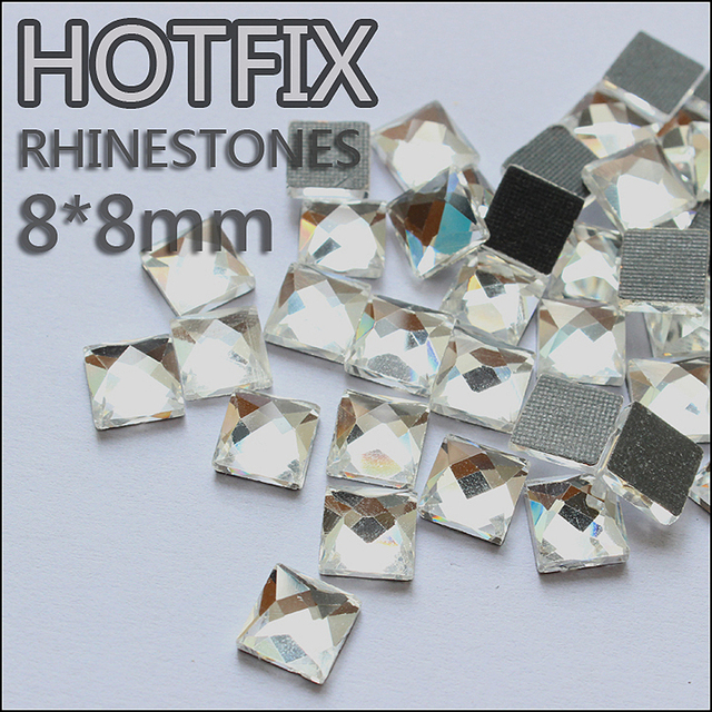 Promotion Strass glass beads 130pcs 8X8mm square crystal DMC hotfix glue on  flatback rhinestones use for 160c1638ff7e