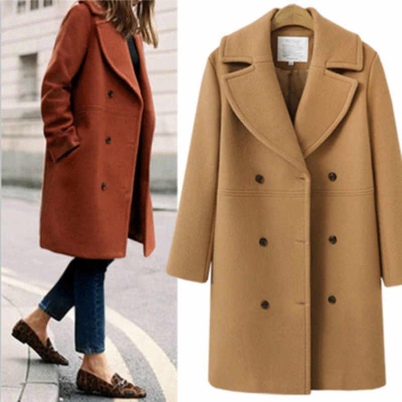 موضة جديدة لعام 2017 معاطف أساسية من الصوف للنساء متوسطة الطول جواكت فضفاضة شتوية دافئة للنساء ملابس خارجية من الصوف مقاس كبير XL