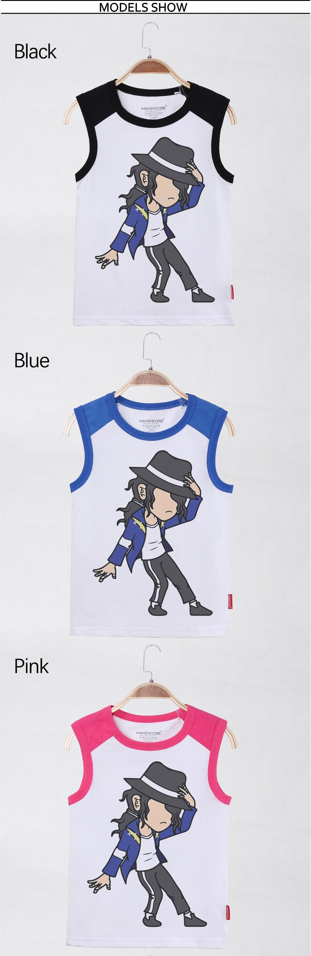 Children Tank Top Michael Jackson Shirt Sleeveless Garment Cotton Cartoon Child Undershirt Kids Tops Boys Tanks Free Shipping