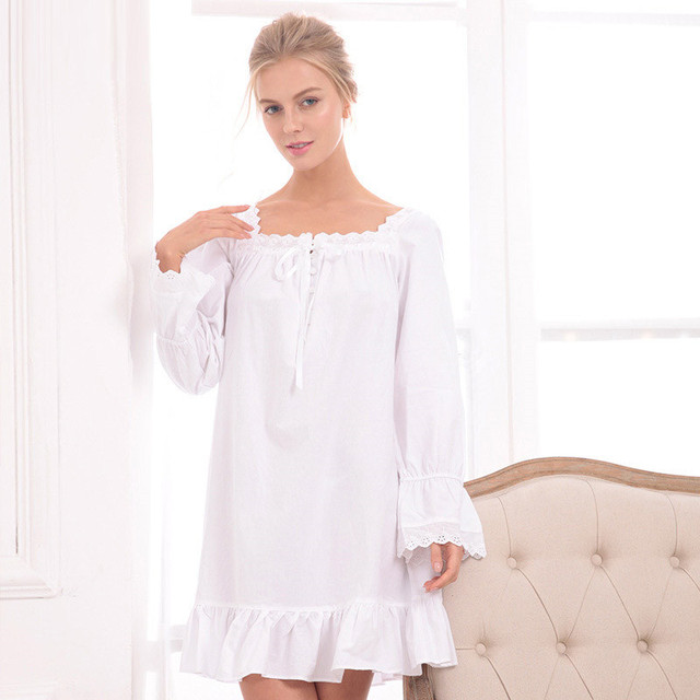 abefb82191f9 Sell like hot cakes style Female white cotton long sleeve sleep princess  dress skirt leisurewear nightgown conjoined nightgown