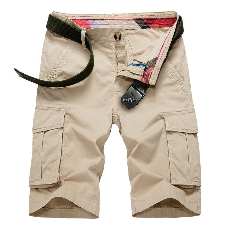 2018 Summer New Casual Pure Cotton Erkek Sort Breathable Multi Pockets Bermudas Hombre
