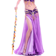 New Fashion Womens Belly dance Skirt Belly dance Wear Performance Sexy belly dance Costume 2 Splits BiColor Top Chiffon Skirts
